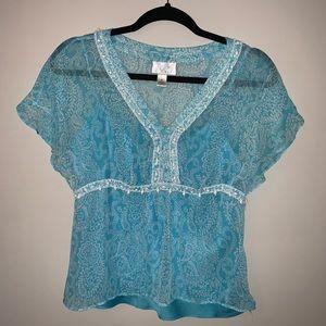 The Loft Petites size 8 beaded blue blouse